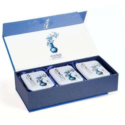 """Подарочная коробка для чая с тремя банками """"Гохуа"""""""
