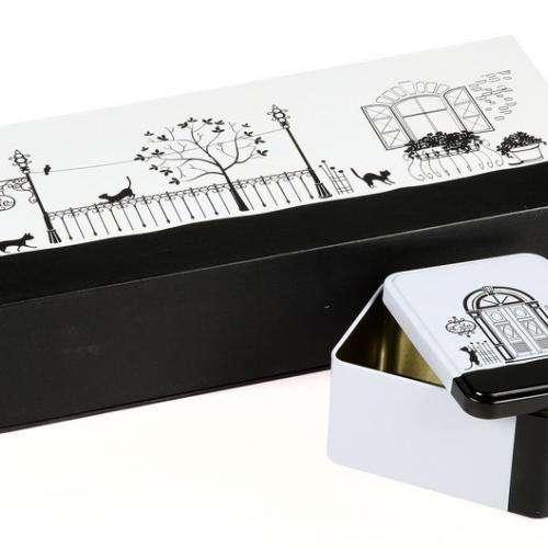 """Подарочная коробка для чая с двумя банками """"Коты в Париже"""""""