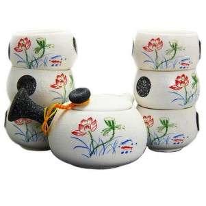 Китайский чайный набор из керамики «Семь лотосов»