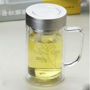 Кружка-термос (двойное стекло)для заваривания чая с ситечком, 520 мл