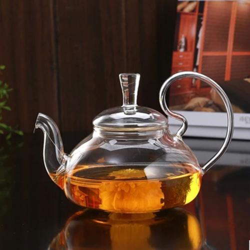 Стеклянный чайник с подогревом от свечи, 650 мл.