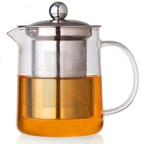 Стеклянный заварочный чайник с фильтром, 350 мл.