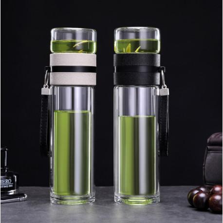 Заварочная бутылка для чая (двойное стекло), черная