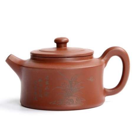 Чайник из исинской глины с изображением цветов, 165 мл.