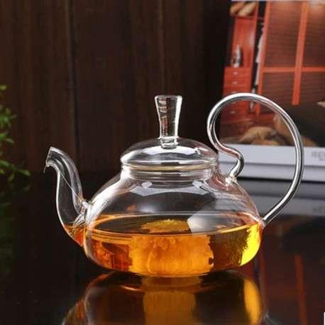 Стеклянный заварочный чайник с подогревом от свечи, 650 мл.
