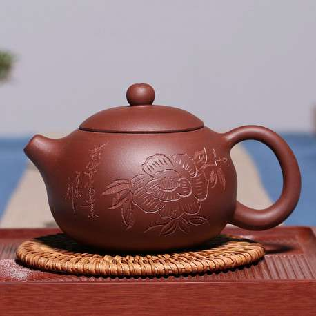 Заварочный глиняный чайник c цветком, 240 мл.