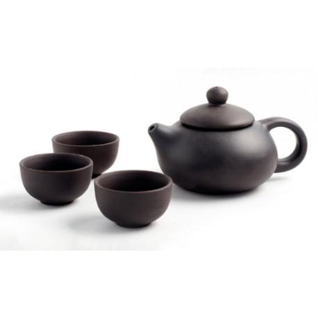Глиняный чайник и три пиалы, набор