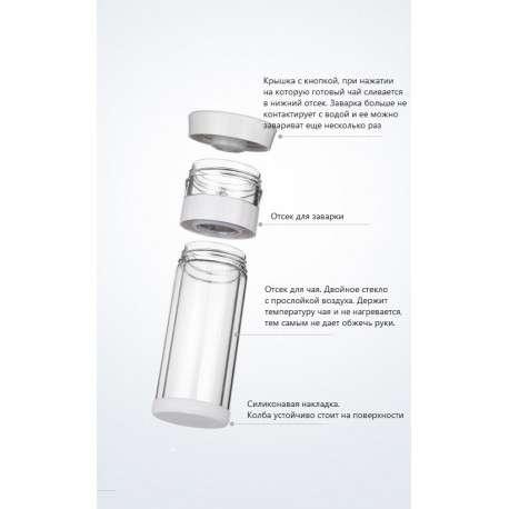 Бутылка для заваривания чая методом пролива (двойное стекло) с чехлом (серая)