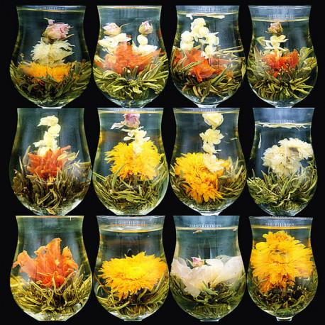 Зеленый связанный чай с цветами (ассорти из 3-ех видов). Урожай 2017г.