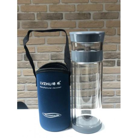Колба-термос гонфу (с кнопкой) для заваривания чая (двойное стекло) с чехлом