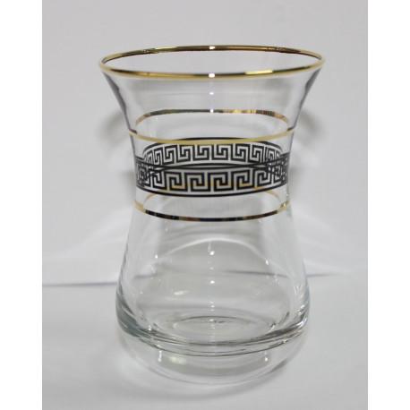 Набор 6-ти чайных стаканов 150 мл., Цветочный бордюр платина