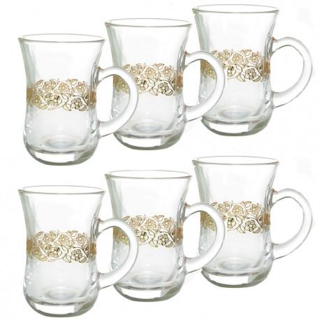 Набор 6-ти чайных стаканов 150 мл., Золотая вязь