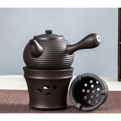 Глиняный заварчный чайник (450 мл) с подставкой подогревателем