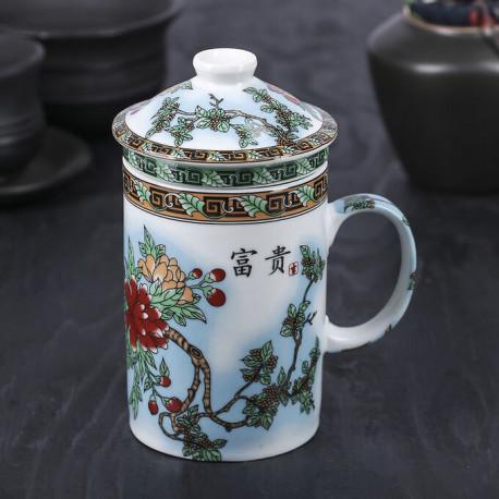 Керамическая чашка с крышкой, с рисунком в китайском стиле