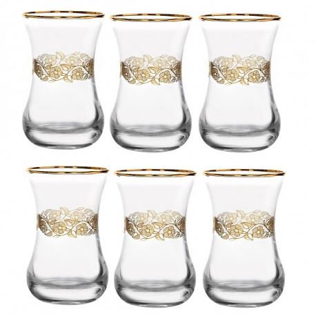 Набор 6-ти чайных стаканов 150 мл., Золотая вязь с отводкой