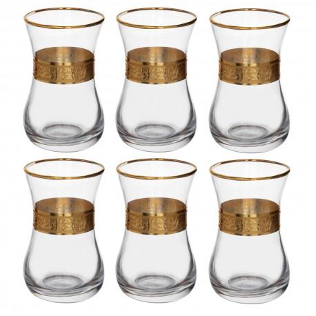 Набор 6-ти чайных стаканов 150 мл., Ампир с золотой отводкой