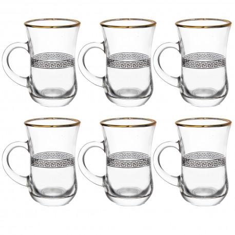 Набор 6-ти стаканов д/чая с ручкой 140 мл., Версаль чёрный с отводкой