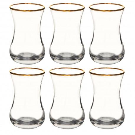 Набор 6-ти чайных стаканов 150 мл., Золотой ободок