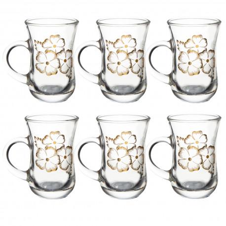 Набор 6-ти стаканов д/чая с ручкой 145 мл., Нежность