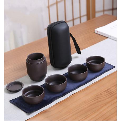 Набор посуды для заваривания чая дорожный (глина, в чехле)