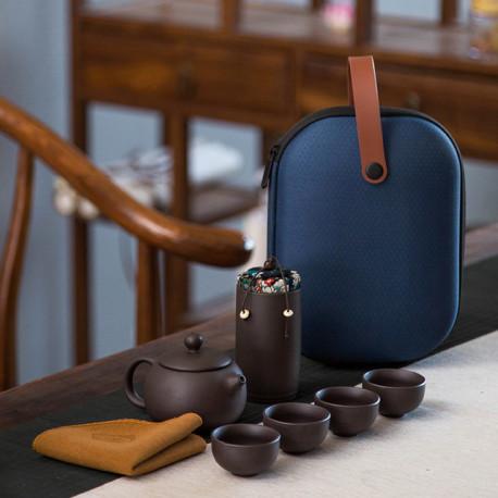Набор для чайной церемонии, глина (дорожный, с чехлом)