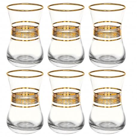 Армуды для чая (набор 6 шт.) 150 мл., Цветочный бордюр золотой