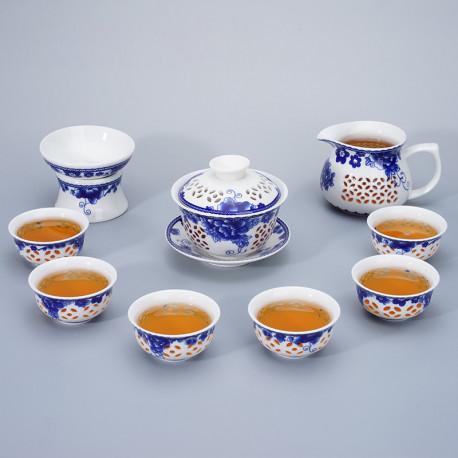 Набор посуды для чайной церемонии из ажурного фарфора на 6 персон