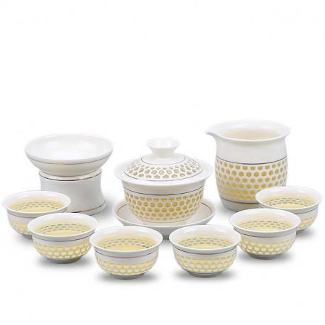 Набор посуды для чайной церемонии Гун Фу Ча из ажурного фарфора на 6 персон