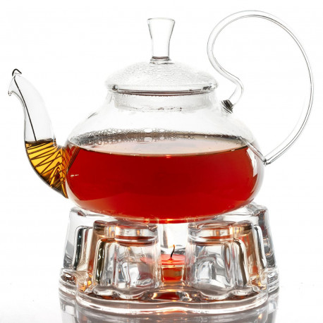 Чайник с подогревом от свечи 600 мл. с подставкой-подогревателем (комплект)