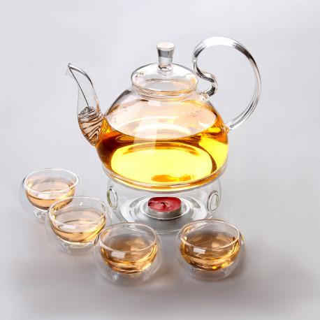 Стеклянный чайный набор на 4 персоны