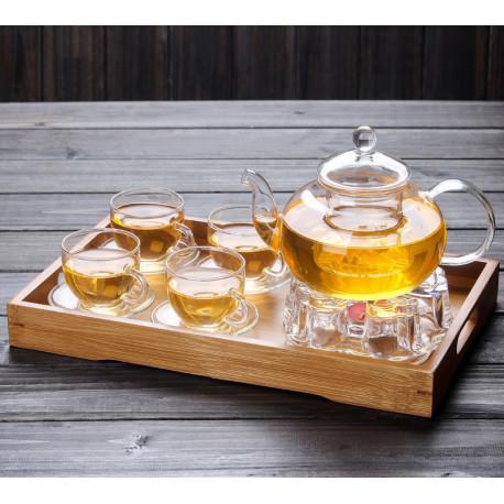 Стеклянный чайный сервис с подносом из бамбука