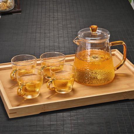 Чайный сервис с бамбуковым подносом на 4 персоны
