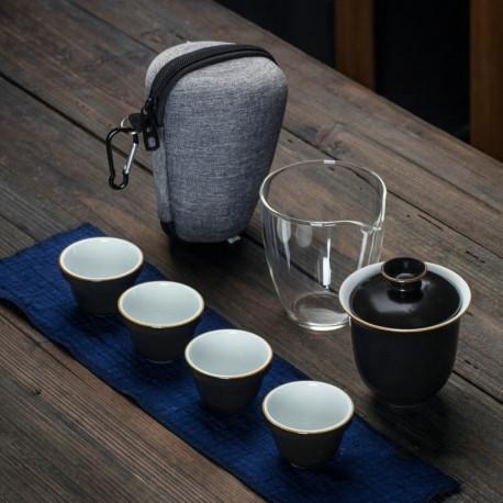 Набор посуды чайный (набор для чайной церемонии глиняный) дорожный, с чехлом