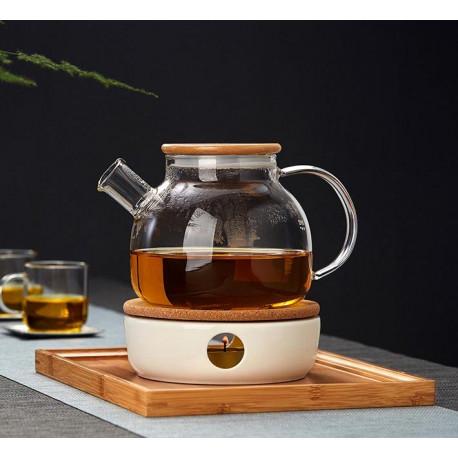 Чайник с подогревом от свечи 900 мл. с подставкой-подогревателем (комплект)
